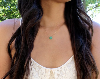 Mykonos Droplet Necklace - Chrysoprase Green Chalcedony - 14k Gold Fill or Sterling Silver