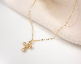 Gold cross necklace on 14k gold filled chain, cz cross necklace