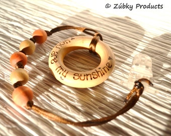 Beaded Binky Pacifier Clip Lasso & Wood Teether Set by Zúbky - You Are My Sunshine