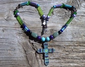 Stone,glass,enamel cross beaded necklace 23 inch