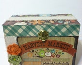 "Recipe Box Kitchen Organizer Recipe Card Holder ""Harvest Market"" 4x6 Wood Box OOAK Ready to Ship"