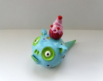 Polymer Clay Sculpture - Turquoise Monster Figurine - Cody the Cupcake Lover - Halloween Sculpture - Fantasy Creature - OOAK
