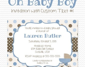 Blue and Brown Baby Shower Invitation, Polka Dot, Baby Carriage, Baby Boy Shower Invite -- Printable File