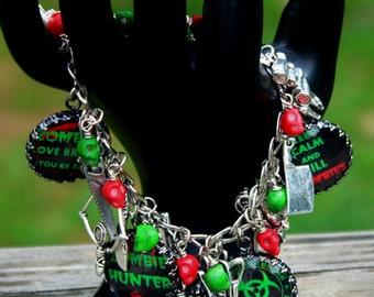 Zombie Survival Charm Bracelet - Post Apocalypse - Horror Jewellery - Dead - Gothic - Fantasy - Custom Charm Bracelet