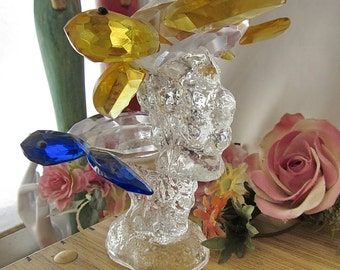 Glass Turtles - Duo Etched Hand Blown Glass Turtles Figurine Set on Massive Blown Glass Base, Vintage