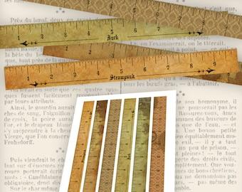 Steampunk Rulers Inch Vintage Printable Images Digital Collage Sheet VDRUST0850