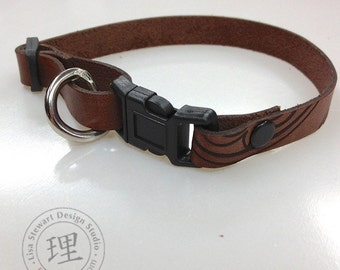 Brown Full Grain Leather Cat Collar - Featuring MarrakechCats Hand Stained Vegetable Tan