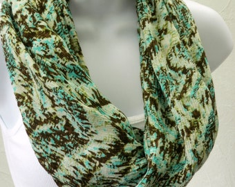 Gauze Infinity Scarf Brown Turquoise Green Necklace Scarf Handmade by Thimbledoodle
