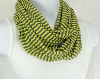 Man or Womens Infinity Scarf Yellow and Grey Striped Jersey Knit Scarf Matches Girl Scarf