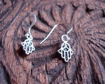 Silver Moroccan  Hand charm earrings with silver hooks (S)