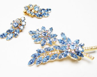 DeLizza and Elster Blue Rhinestone Brooch and Earrings - Verified Juliana Demi-parure - Lovely Mother's Day Gift