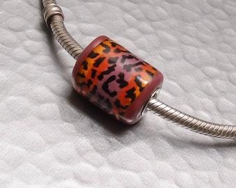 Glass Bead Charm Handmade - Hot Leopard - SRA Lampwork Big Hole European