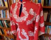 Mele Kalikimaka!--Dreamy Silky Rayon 1940s 1950s Red Pake Muu Hawaiian Dress with White Orchid Leis--M