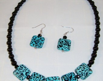 Turquoise and Black and Bead Necklace