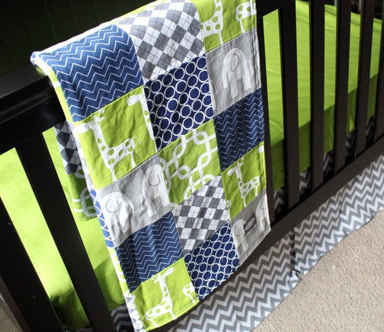 custom crib bedding green navy blue and grey by gigglesixbaby. Black Bedroom Furniture Sets. Home Design Ideas