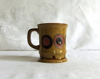 Vintage Stoneware Coffee Mug with Artesian Dot or Circle Design - Rustic, Mid Century Modern, 1970s, Studio Pottery, Toffee Brown, Brick Red