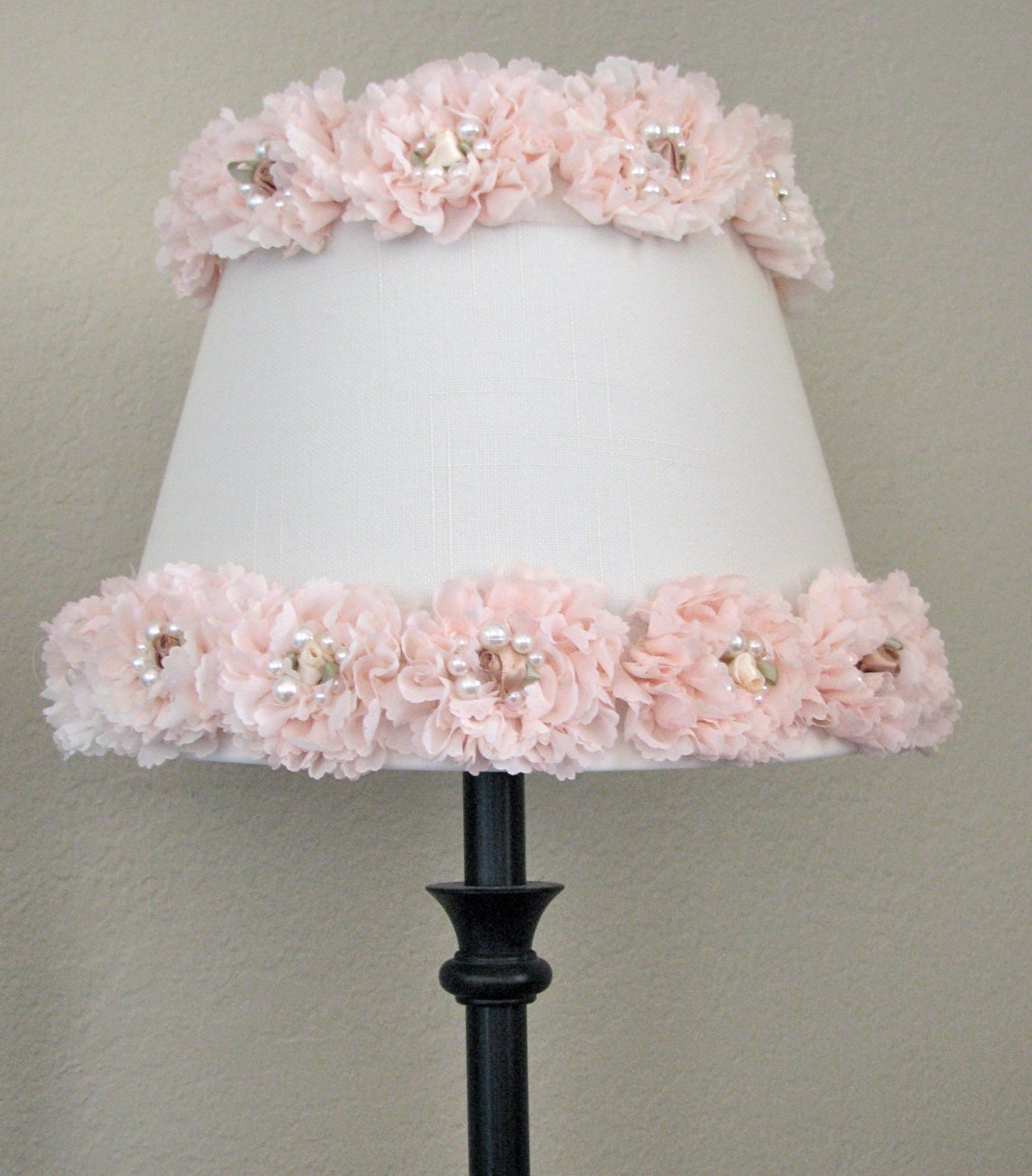shabby chic lamp shade shabby chic nursery decor rose lamp. Black Bedroom Furniture Sets. Home Design Ideas
