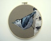 Nuthatch Bird Hoop Art - Original Painting on Embroidery Hoop - Unique Home Decor