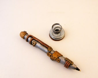 Steampunk Polymer clay Pen with Industrial Pen Holder