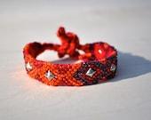 Crystal Studded Friendship Bracelet- orange, red, purple