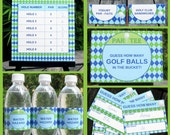 Golf Theme Party Invitations & Decorations - full Printable Package - INSTANT DOWNLOAD with EDITABLE text - you personalize at home