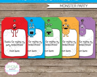 Monster Favor Tags - Thank You Tags - Birthday Party Favors - INSTANT DOWNLOAD with EDITABLE text template - you personalize at home