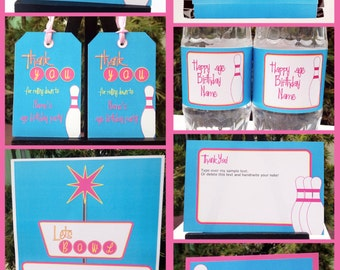 Girls Bowling Party Invitations & Decorations - full Printable Package - INSTANT DOWNLOAD with EDITABLE text - you personalize at home