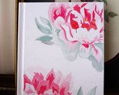 Original Watercolor Art :  Pink Peonie on Cover of Blank Book, Journal, Sketch Book
