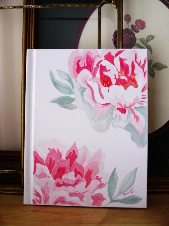 Book Cover Watercolor Mixing : Original watercolor art pink peonie on cover of blank book