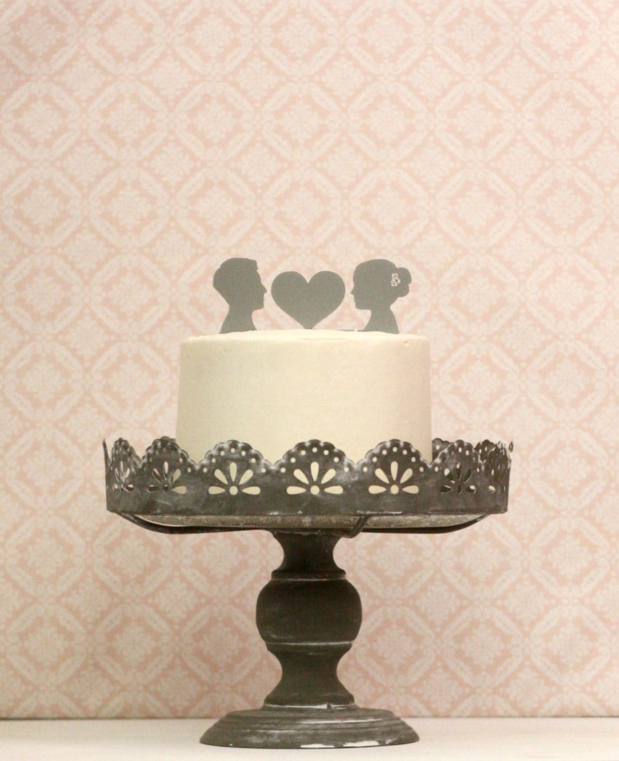 Custom Silhouette Wedding Cake Topper Personalized with
