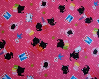 NEW Westex Love Kitten Kawaii Japanese Fabric in pink polkadots (Half Yard)