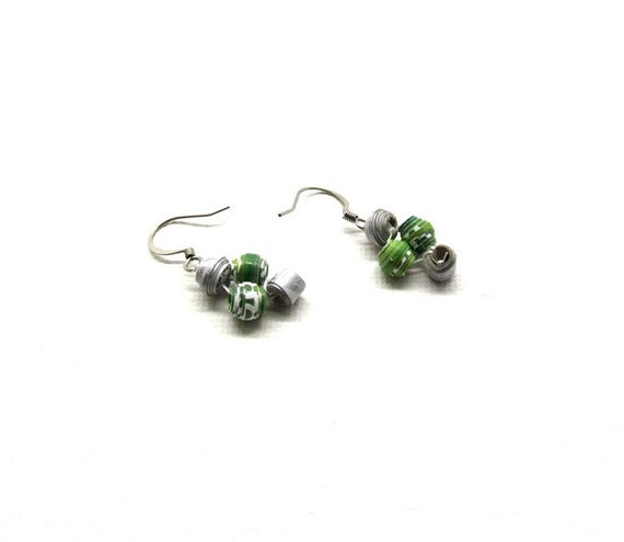 BLACK FRIDAY SALE 40% Off Light Weight Paper Bead Jewelry Green and Grey Earrings Eco Friendly Jewelry Paper 1st anniversary