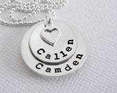 Personalized Jewelry - Hand Stamped Mommy Necklace - Two Names - STERLING SILVER - Patricia Ann Jewelry Designs
