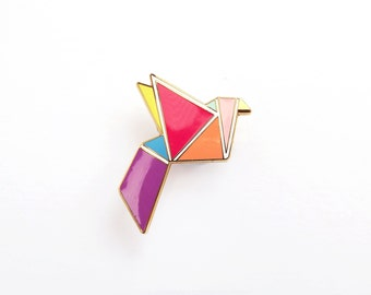 Bird Brooch Pin Geometric Neon Origami