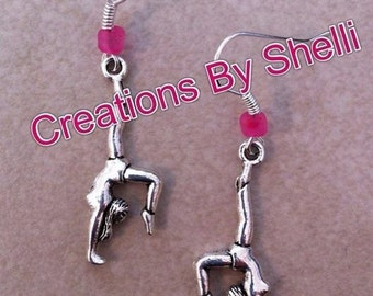Handmade Back flip Gymnastics Wire Earrings (you choose bead color)