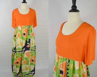 1970s Orange Abstract Empire Waist Maxi Dress by Keyloun, Short Sleeve, Floor Length
