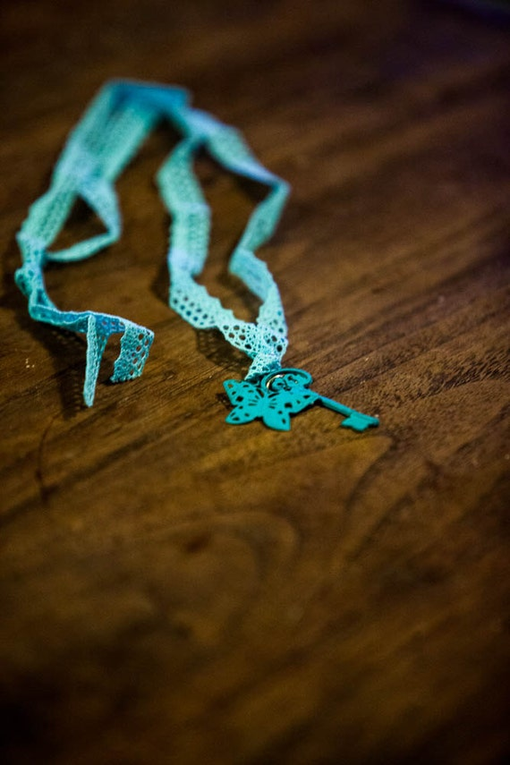 Turquoise Skeleton Key with butterfly . Teal . Lace ribbon . Vintage style . Hand painted Christmas