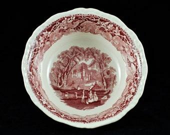 "Large Vintage Masons 'Vista' Red Transferware 9"" Serving Bowl"