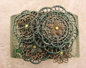 """Embellished and Etched Copper Cuff Bracelet, Emerald Green and Brass Filigree, 1.5"""""""