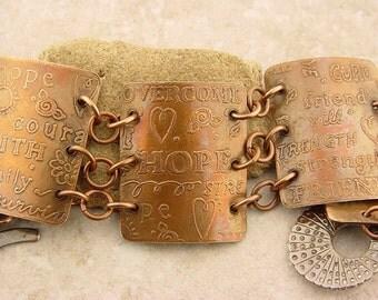"Handmade Etched Copper Curved Bracelet, 7 3/4"" Wrist, Inspirational"