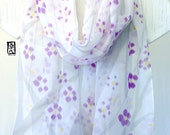Silk Scarf Handpainted, Gift for her, Gift for Women, Purple Scarf, Chiffon, Purple and Grey Plum Blossoms Scarf, Spring Scarf, 14x72 in,
