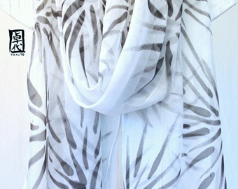 Hand Painted Silk Shawl, ETSY, White and Black Silk Shawl, Japanese Hanabi Flowers. Large Silk Scarf, Silk Chiffon Scarf. Approx 20x88 in.