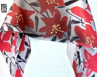 Silk Scarf Handpainted, Red and Black Scarf, Red, Black, Gray and Golden Kimono Lilies Scarf, Silk Charmeuse Scarf. 15x60 inches.