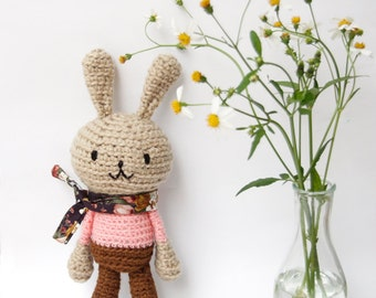 Amigurumi Bunny Rabbit, Bunny Stuffed Toy, Crocheted Doll - Light Brown Bunny with Salmon Pink top and Flora scarf