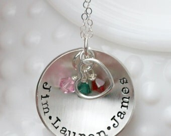 Personalized jewelry - Hand Stamped Jewelry - Sterling Silver Necklace - Birthstone Necklace - Family Names Necklace - Mothers Day Gift