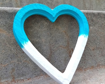Ombre Blue Green Turquoise and White Heart Picture Frame With Glass