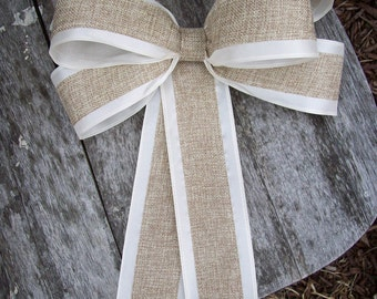 Burlap Pew Bows, Burlap Wedding, Aisle Decor, Rustic Wedding, Cottage Chic, Pew Bows, Wreath Bows