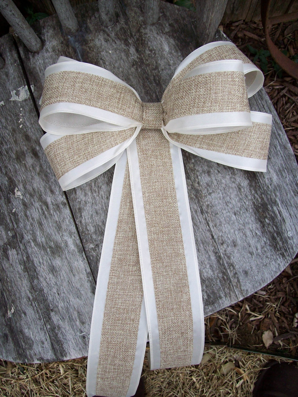 Burlap pew bows burlap wedding aisle decor rustic wedding - Bow decorations for weddings ...