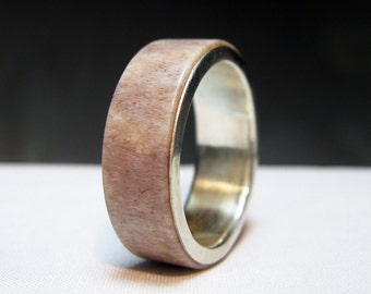 Antler and Sterling Silver Ring - Naturally Shed Deer Antler