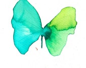 turquoise and spring green butterfly. ORIGINAL ART watercolour painting